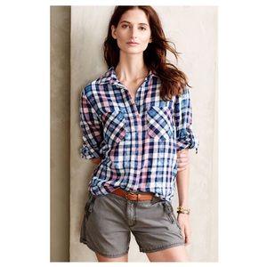 Anthro - Cloth & Stone - Split Back Flannel Shirt